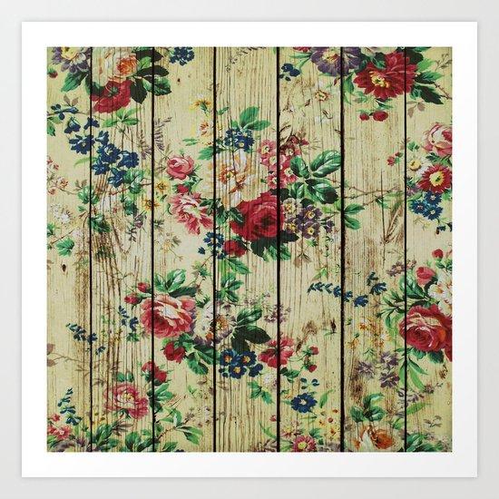 Flowers on Wood 01 Art Print