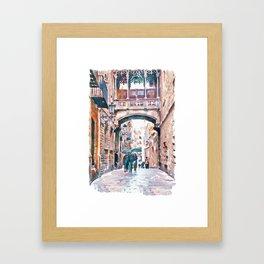 Carrer del Bisbe - Barcelona Framed Art Print