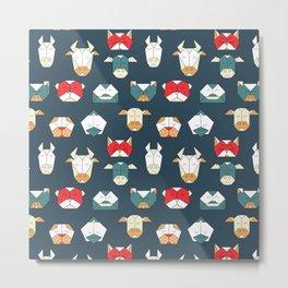geometric animal heads Metal Print