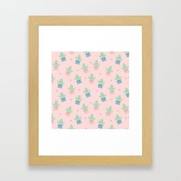 Happy cactus pattern Framed Art Print