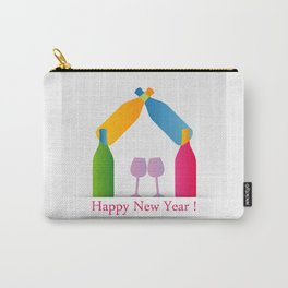 New year greetings with House formed with many colorful bottles and glasses Carry-All Pouch