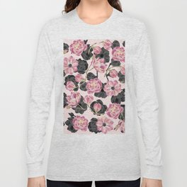 Girly Blush Pink and Black Watercolor Flowers Long Sleeve T-shirt