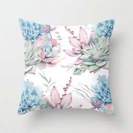 Pretty Pastel Succulents Garden 1 Throw Pillow
