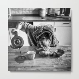 First I Drink the Coffee, Then I do the Stuff - hangover black and white photograph / photography Metal Print