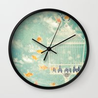 cage Wall Clocks featuring The Cage by Sybille Sterk