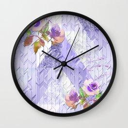 Lavender Rose Lattice Art Wall Clock