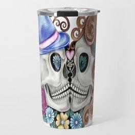 Floral Kissing Skulls Travel Mug