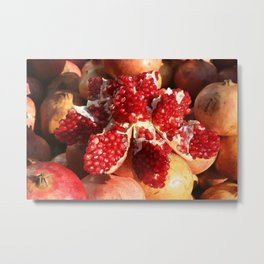 red open pomegranate fruit Metal Print