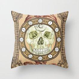 Human Skull Clock Throw Pillow