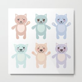 funny cats, pastel colors on white background Metal Print