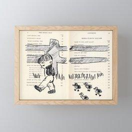 Boy and the ducks Drawing  Framed Mini Art Print