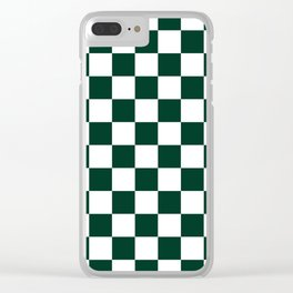 Checkered - White and Deep Green Clear iPhone Case