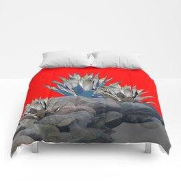 DECORATIVE  RED GREY DESERT AGAVE CACTUS Comforters