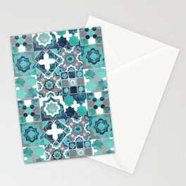 Spanish moroccan tiles inspiration // turquoise green silver lines Stationery Cards
