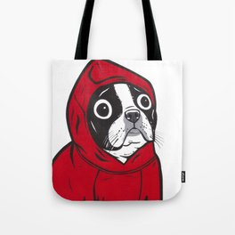 Red Hoodie Boston Terrier Tote Bag