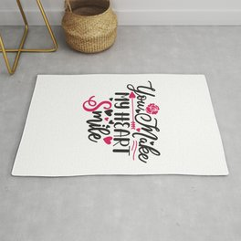 You Make My Heart Smile - Funny Love humor - Cute typography - Lovely and romantic quotes illustration Rug