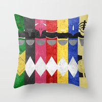 power rangers Throw Pillows featuring Mighty Morphin Power Rangers by Some_Designs