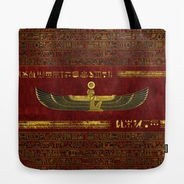 Golden Egyptian God Ornament on red leather Tote Bag