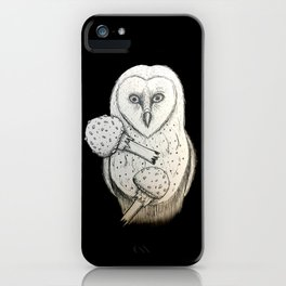 Barn owl and Mushrooms iPhone Case