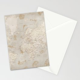 Vintage looking current world map with sea monsters and sail ships Stationery Cards
