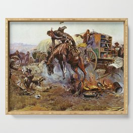 C.M. Russell Cook's Troubles Vintage Western Art Serving Tray