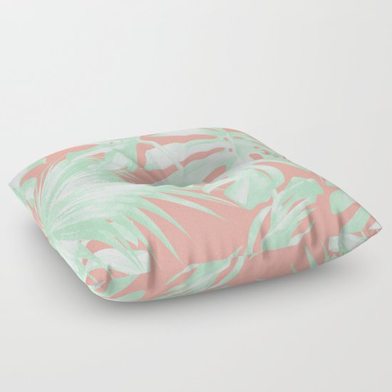 Island Love Coral Pink + Light Green Floor Pillow by Simple Luxe Society6