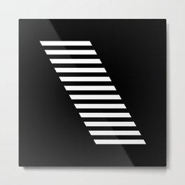 Minimalist Modern Geometric Monochrome Stripe Block White & Black Metal Print