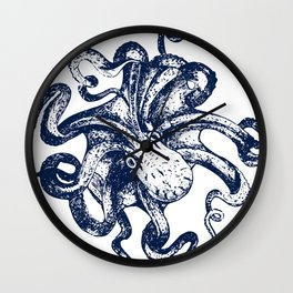 Octopus Nautical Navy and White Wall Clock