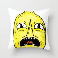 lemongrab Throw Pillows featuring LEMONGRAAAAAB by alexSHARKE