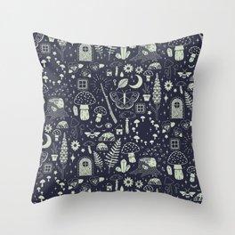 Fairy Garden: Midnight Throw Pillow