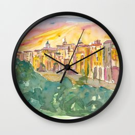 Sant'Agata de' Goti Picturesqe Town on a Rock Wall Clock