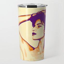 The Beautiful Woman In Neon Travel Mug