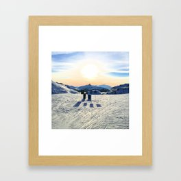 The snow, signs, shadows, sun, sky - and the surrounding! Framed Art Print