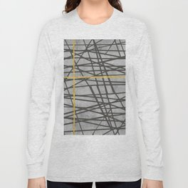 Black abstract black and gold lines on concrete - Mix & Match with Simplicty of life Long Sleeve T-shirt