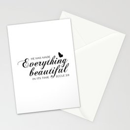 Eccle 3:11 He has made everything beautiful in its time.Christian Bible Verse Stationery Cards