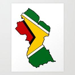 Guyana Map with Guyanese Flag Art Print