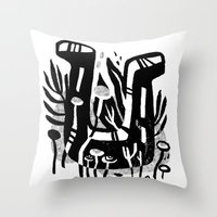 shoe Throw Pillows featuring Lucky Shoe by pam wishbow