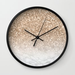 Sparkle - Gold Glitter and Marble Wall Clock