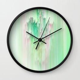Abstract Cascade Glitch 1.Green Wall Clock