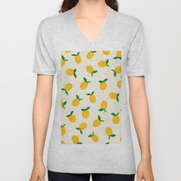 Lemon_Yellow_Pattern_01 Unisex V-Neck