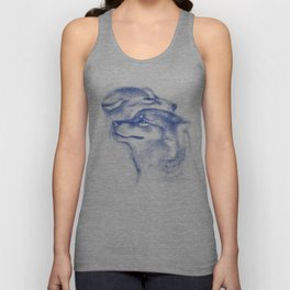 Two Wolves In Blue Art Drawing Unisex Tank Top