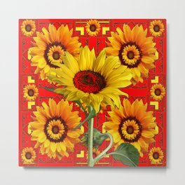 WESTERN STYLE RED COLOR YELLOW-GOLD SUNFLOWERS Metal Print