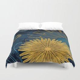 Navy floral background Duvet Cover