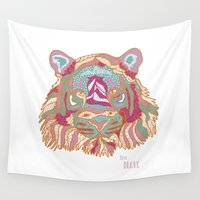 brave Wall Tapestries featuring BE BRAVE by Nika
