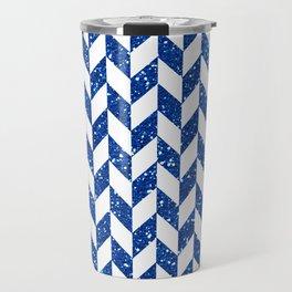 Herringbone Blue Glitter 01 Travel Mug