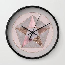 Glamorous Rose Gold Pentagon Symbol Wall Clock