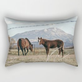 Ranch Horses near the Great Sand Dunes in Colorado Rectangular Pillow