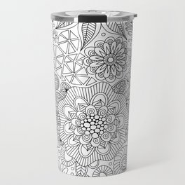 White Doodle Pattern Travel Mug