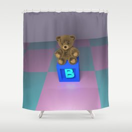 B Bear Block Shower Curtain