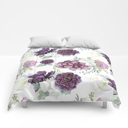 Succulents Deep Violet Lavender Pastel Green Lilac PatternSee Nature Magick for more pretty pastel c Comforters